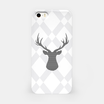 Deer - Abstract geometric pattern - gray and white. iPhone Case obraz miniatury