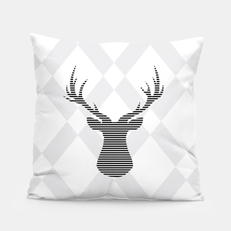 Deer - Abstract geometric pattern - gray and white. Pillow obraz miniatury