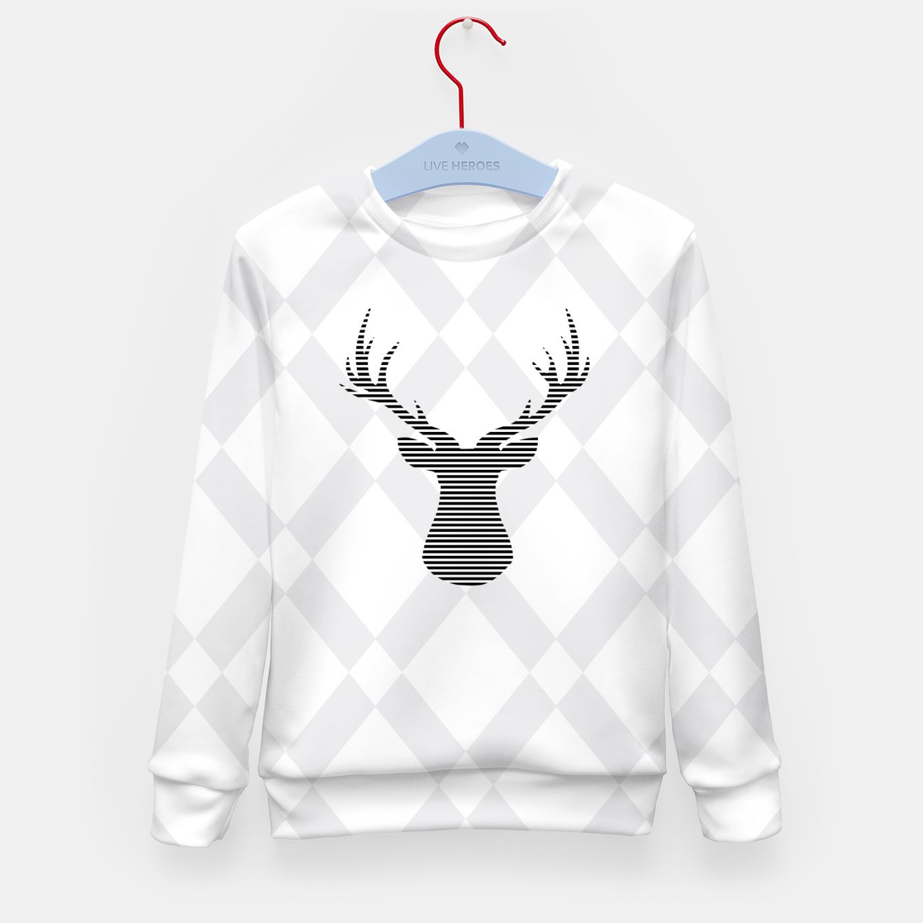 Zdjęcie Deer - Abstract geometric pattern - gray and white. Kid's sweater - Live Heroes