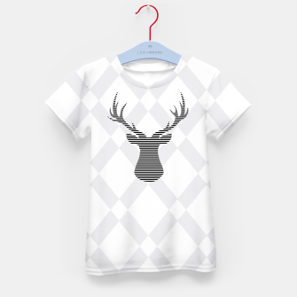 Thumbnail image of Deer - Abstract geometric pattern - gray and white. Kid's t-shirt, Live Heroes