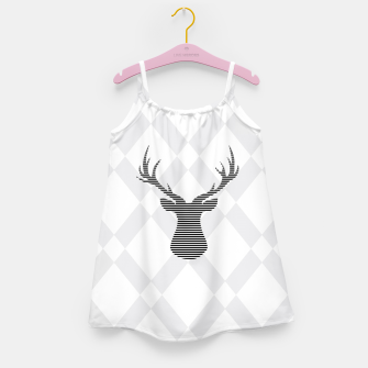 Thumbnail image of Deer - Abstract geometric pattern - gray and white. Girl's dress, Live Heroes