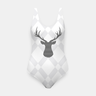Thumbnail image of Deer - Abstract geometric pattern - gray and white. Swimsuit, Live Heroes