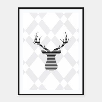 Deer - Abstract geometric pattern - gray and white. Framed poster obraz miniatury
