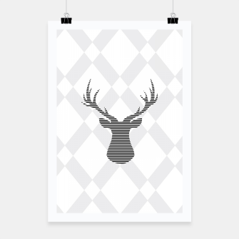 Deer - Abstract geometric pattern - gray and white. Poster obraz miniatury