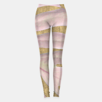 Thumbnail image of Rose palm on golden background Leggings, Live Heroes