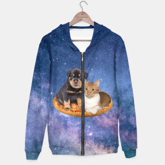 Thumbnail image of Cat and Dog  Cotton zip up hoodie, Live Heroes