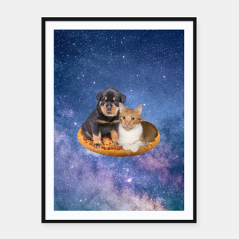 Miniatur Cat and Dog  Framed poster, Live Heroes