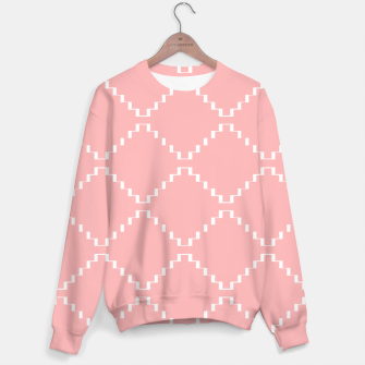 Abstract geometric pattern - pink and white. Cotton sweater obraz miniatury
