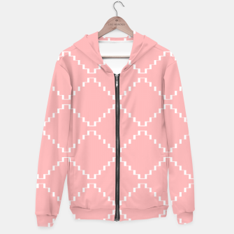 Abstract geometric pattern - pink and white. Cotton zip up hoodie obraz miniatury