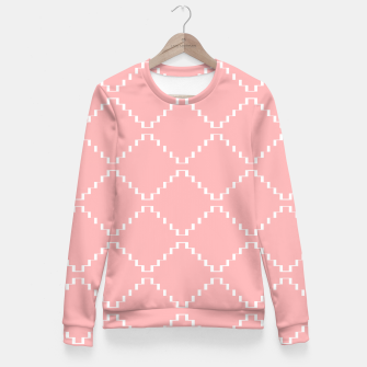 Abstract geometric pattern - pink and white. Woman cotton sweater obraz miniatury