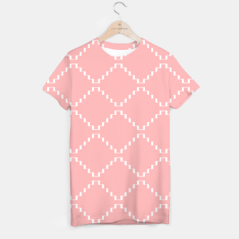 Abstract geometric pattern - pink and white. T-shirt obraz miniatury