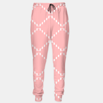 Abstract geometric pattern - pink and white. Cotton sweatpants obraz miniatury