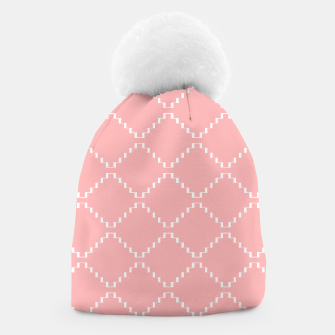 Abstract geometric pattern - pink and white. Beanie obraz miniatury