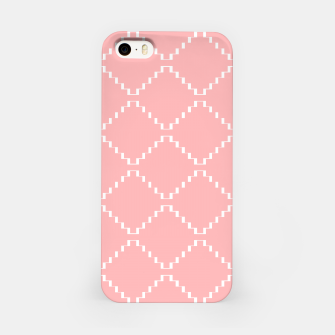 Abstract geometric pattern - pink and white. iPhone Case obraz miniatury