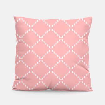Abstract geometric pattern - pink and white. Pillow obraz miniatury