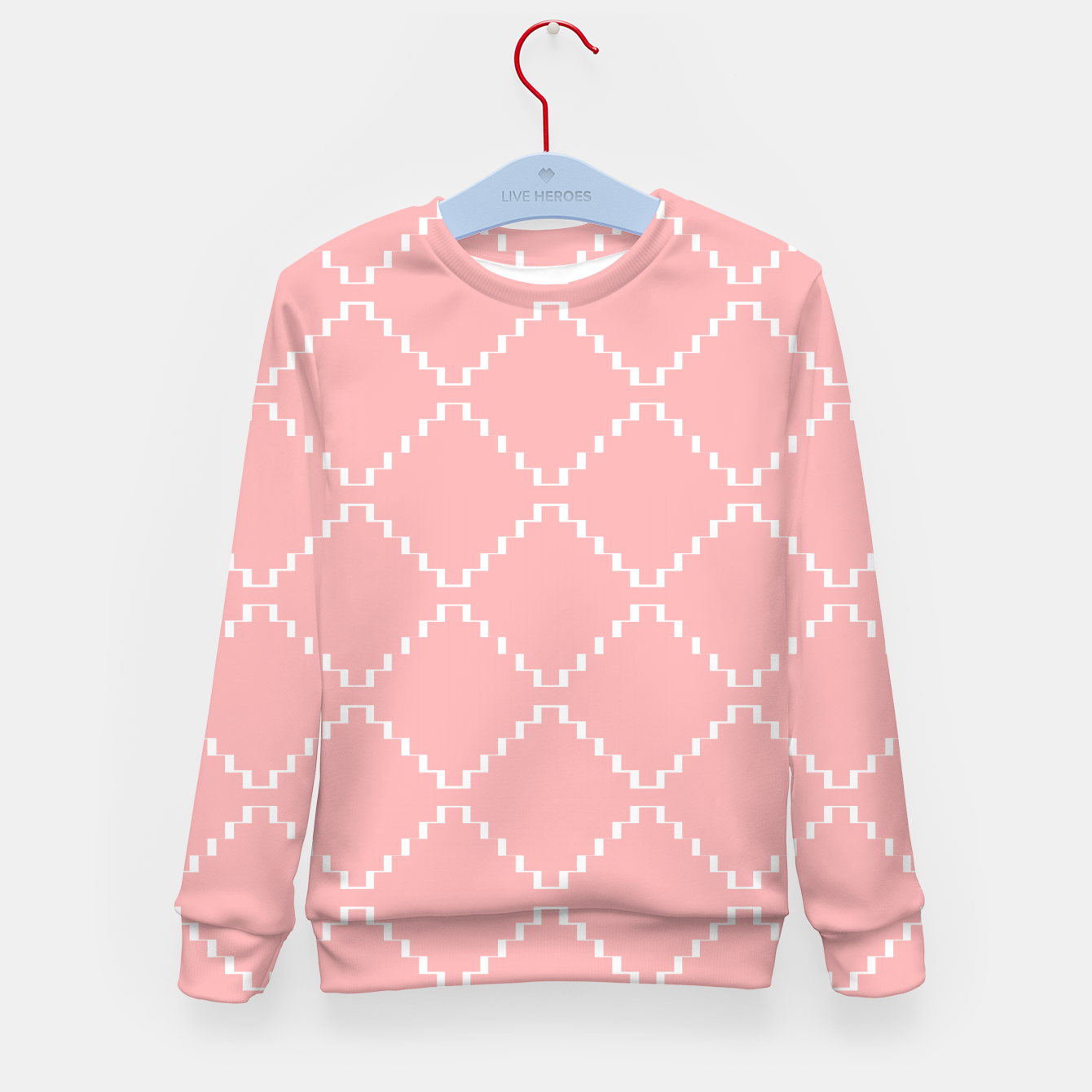 Zdjęcie Abstract geometric pattern - pink and white. Kid's sweater - Live Heroes