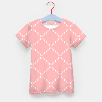 Abstract geometric pattern - pink and white. Kid's t-shirt obraz miniatury