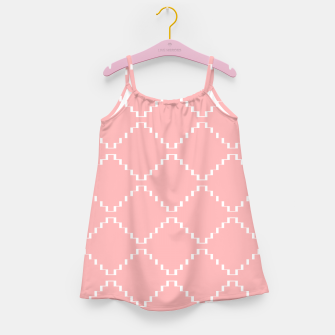 Abstract geometric pattern - pink and white. Girl's dress obraz miniatury