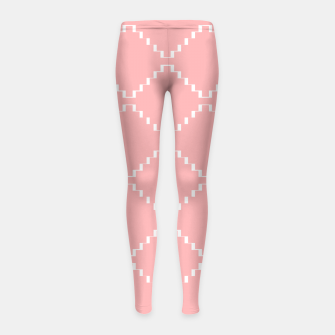 Abstract geometric pattern - pink and white. Girl's leggings obraz miniatury