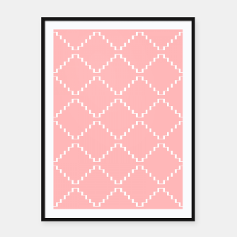 Abstract geometric pattern - pink and white. Framed poster obraz miniatury