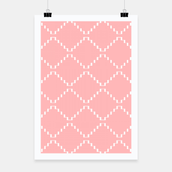 Abstract geometric pattern - pink and white. Poster obraz miniatury