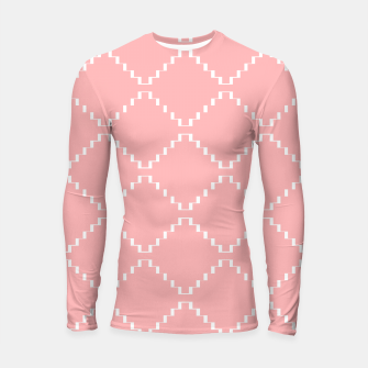 Abstract geometric pattern - pink and white. Longsleeve rashguard  obraz miniatury