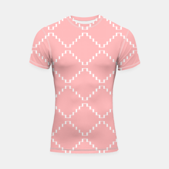 Thumbnail image of Abstract geometric pattern - pink and white. Shortsleeve rashguard, Live Heroes