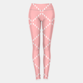 Abstract geometric pattern - pink and white. Leggings obraz miniatury