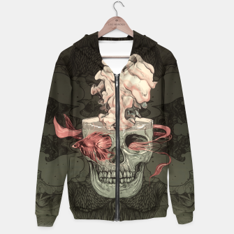 Miniature de image de Red Fish and Smokey Skull Cotton zip up hoodie, Live Heroes