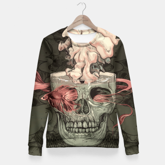 Thumbnail image of Red Fish and Smokey Skull Woman cotton sweater, Live Heroes