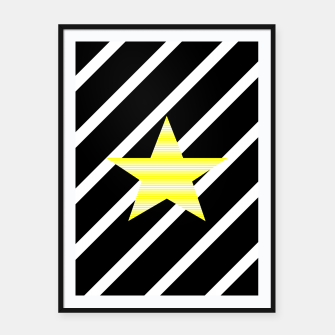 Miniatur Star - Abstract geometric pattern - black and white. Framed poster, Live Heroes