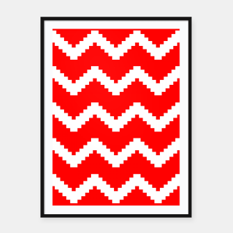 Miniatur Abstract geometric pattern - red and white. Framed poster, Live Heroes
