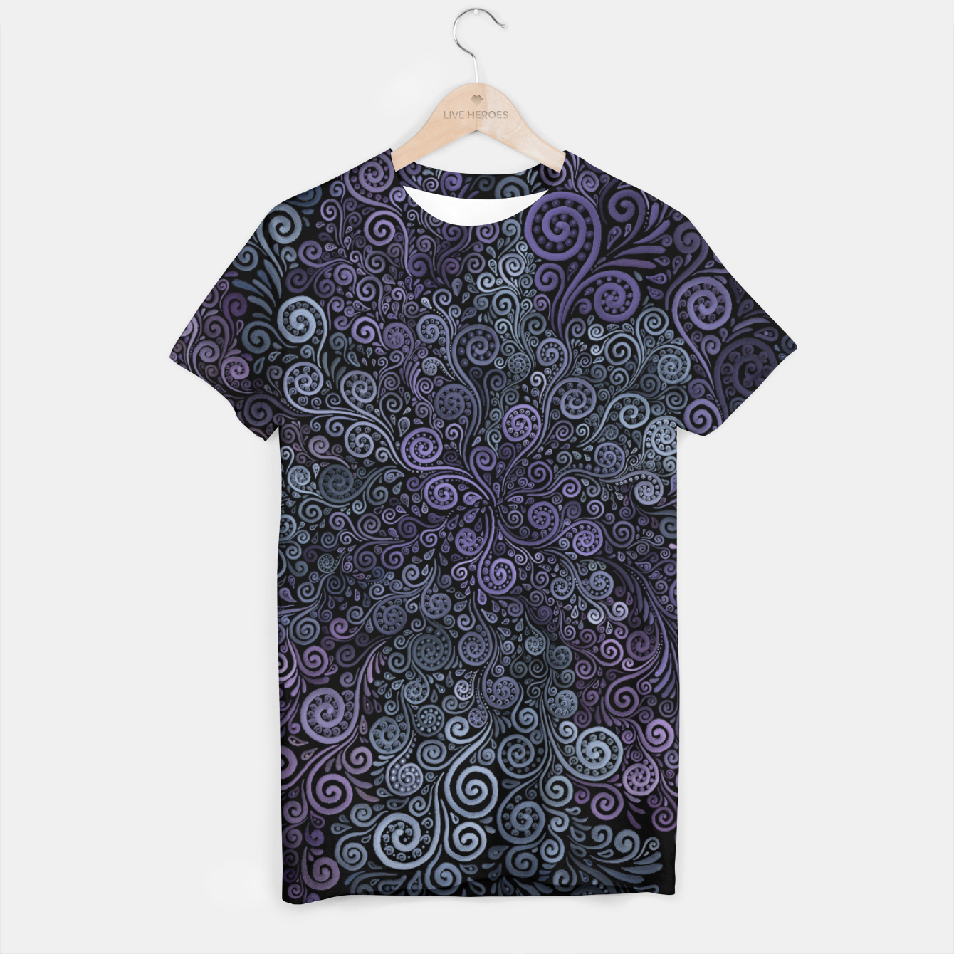 e2b9f8936795 Hand-painted Violet and Teal 3d Psychedelic Floral Pattern T-shirt ...