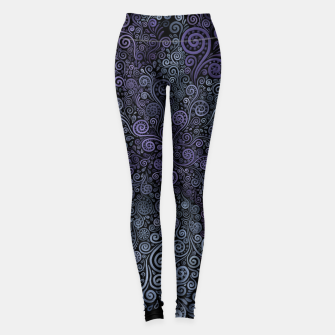Miniatur Hand-painted Violet and Teal 3d Psychedelic Floral Pattern Leggings, Live Heroes