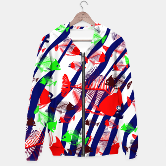 Thumbnail image of Hot Fishes Cotton zip up hoodie, Live Heroes