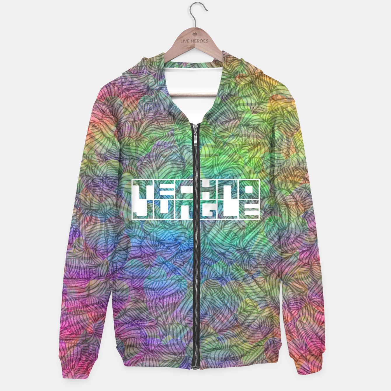 Image of Techno Jungle Cotton zip up hoodie - Live Heroes