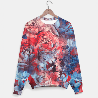 flowers red and blue pattern #flowers #pattern Bluza bawełniana imagen en miniatura