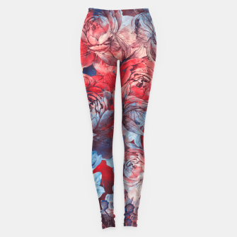 Thumbnail image of flowers red and blue pattern #flowers #pattern Legginsy, Live Heroes