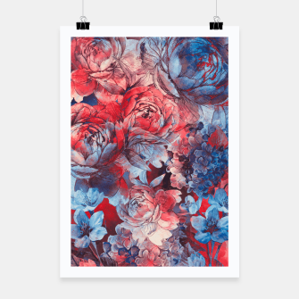 Miniaturka flowers red and blue pattern #flowers #pattern Plakat, Live Heroes