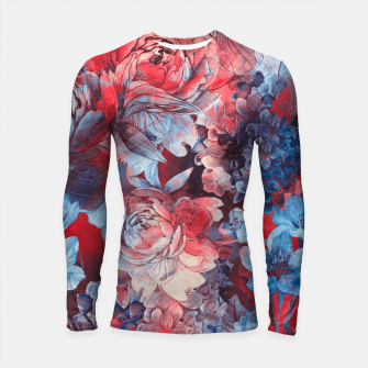 Thumbnail image of flowers red and blue pattern #flowers #pattern Rashguard długi rękaw, Live Heroes