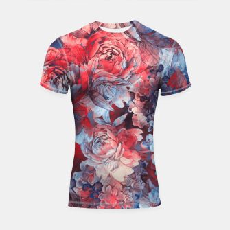 Miniaturka flowers red and blue pattern #flowers #pattern Rashguard krótki rękaw, Live Heroes