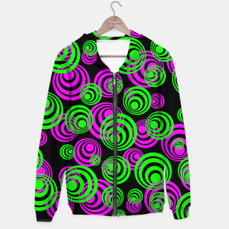 Thumbnail image of Neon Green and Pink Circles Cotton zip up hoodie, Live Heroes
