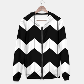 Thumbnail image of Abstract geometric pattern - black and white. Cotton zip up hoodie, Live Heroes