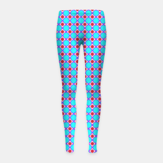 Thumbnail image of trendy floral vintage pattern, blue background Girl's leggings, Live Heroes