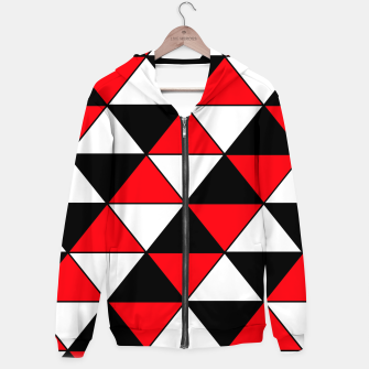 Thumbnail image of Abstract geometric pattern - red, black and white. Cotton zip up hoodie, Live Heroes