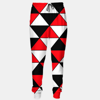 Miniaturka Abstract geometric pattern - red, black and white. Cotton sweatpants, Live Heroes