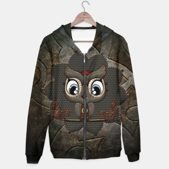 Thumbnail image of Cute steampunk owl Cotton zip up hoodie, Live Heroes