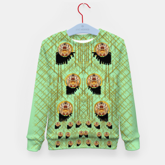 Miniatur Lady panda with hat and bat in the sunshine Kid's sweater, Live Heroes