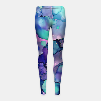 Abstract Alcohol Ink Painting 2 Girl's leggings imagen en miniatura
