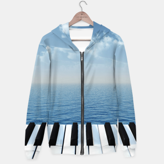 Thumbnail image of piano Cotton zip up hoodie, Live Heroes